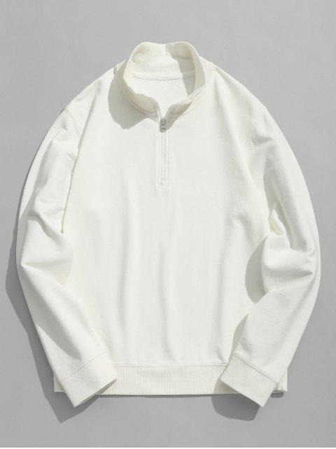Sudadera con cuello redondo y media cremallera - Blanco L Mobile
