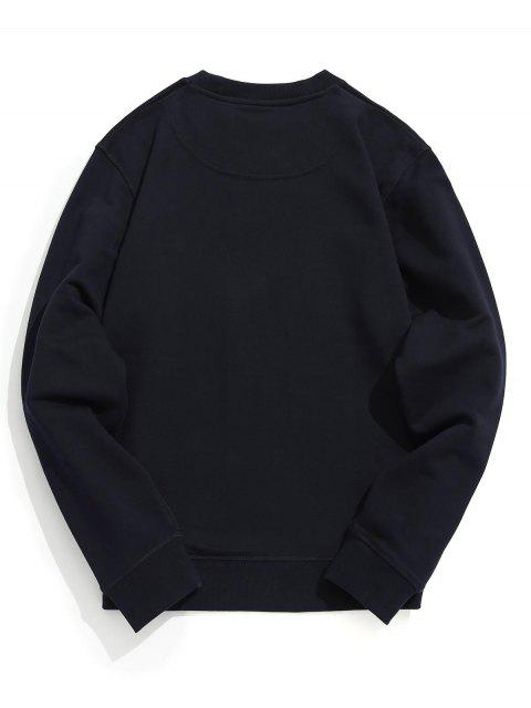 fancy Crew Neck Plain Pullover Sweatshirt - PURPLISH BLUE 2XL Mobile