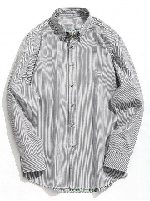 Button Striola Shirt - Weiß & Schwarz L Mobile