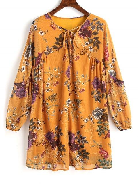 Robe Courte Tunique Florale à Lacets - Moutarde  S Mobile
