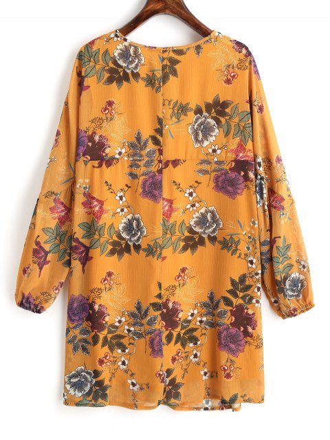 hot Floral Tunic Lace Up Mini Dress - MUSTARD L Mobile