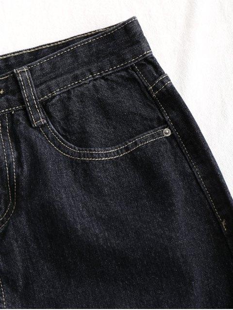 new Floral Embroidered Jean A Line Skirt - BLACK L Mobile