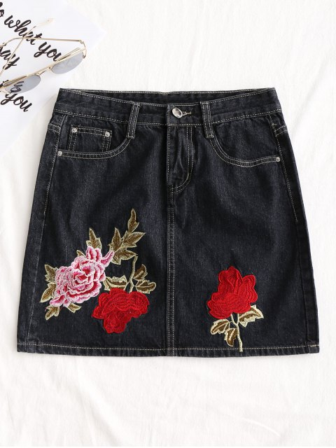 new Floral Embroidered Jean A Line Skirt - BLACK L Mobile