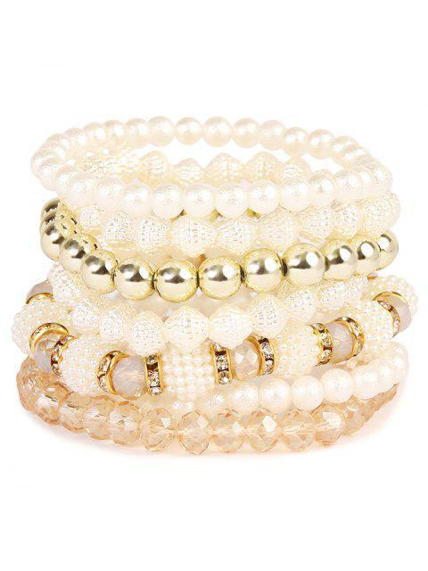 chic Rhinestone Faux Pearl Elastic Beaded Bracelet Set - GOLDEN  Mobile