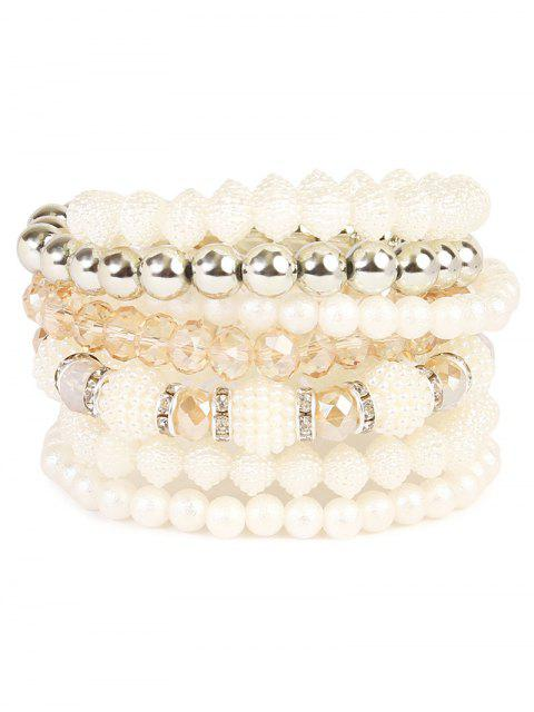 fancy Rhinestone Faux Pearl Elastic Beaded Bracelet Set -   Mobile