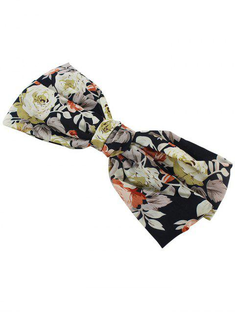chic Floral Bowknot Small Hair Clip - BLACK  Mobile