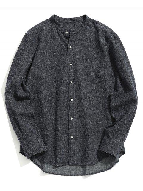 Chemise à Col Mandarin à Poche - gris foncé XL Mobile