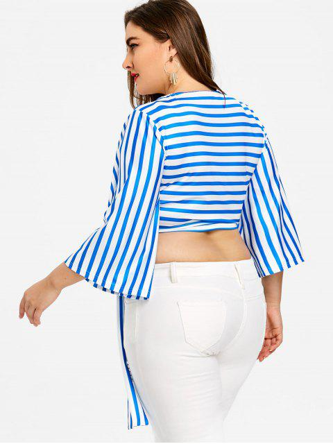 new Plus Size Striped Wrap Top - BLUE AND WHITE 5XL Mobile