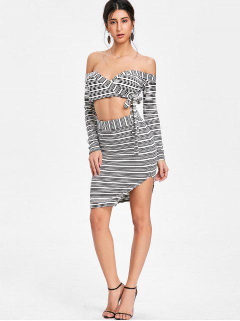 outfits Off Shoulder Striped Skirt Two Piece Set - GRAY XL Mobile