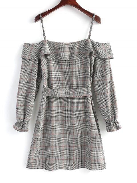 Mini vestido de hombro fruncido con volantes de tartán - Gris XL Mobile