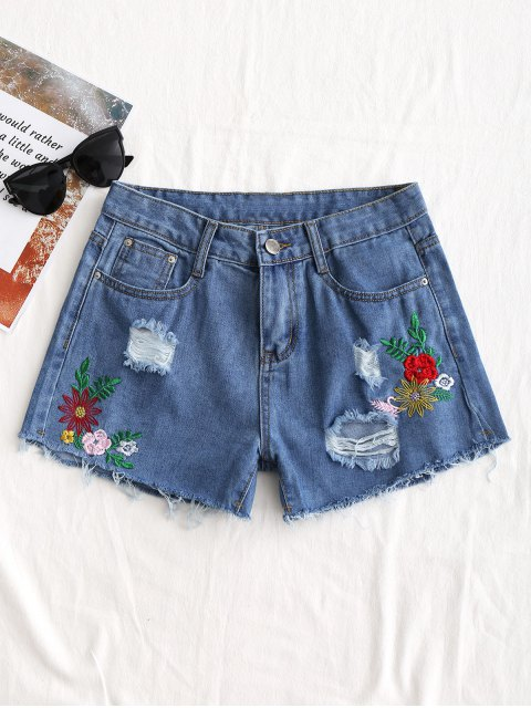trendy Distressed Floral Embroidered Denim Shorts - DENIM BLUE L Mobile