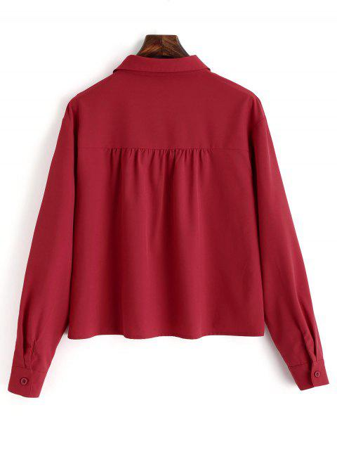 trendy Plain Lace Up Long Sleeve Shirt - RED L Mobile