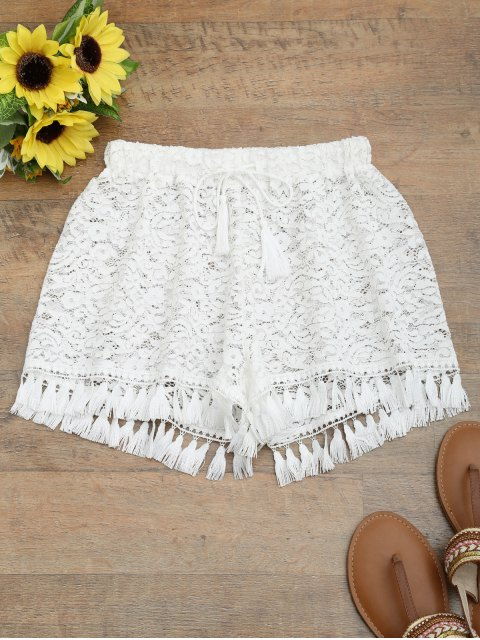 women Tassel Drawstring Lace Shorts - WHITE M Mobile