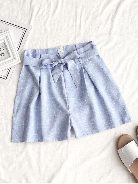 Short à Carreaux à Zip avec Ceinture - Bleu clair M Mobile