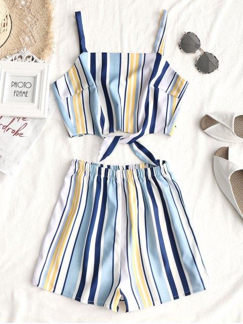 Tied Stripes Top und hoch taillierte Shorts Set - Streifen  XL  Mobile