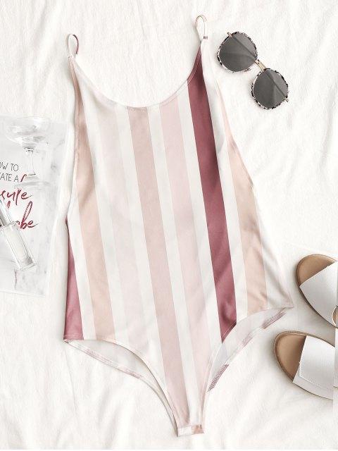 women Open Back Striped Bodysuit - STRIPE S Mobile