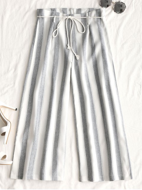 shop Belted Stripes Wide Leg Pants - WHITE L Mobile