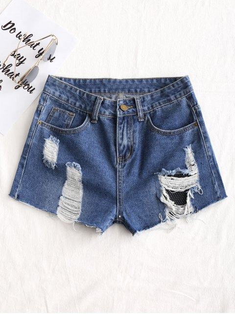 buy Frayed Destroyed Jean Shorts - DENIM BLUE 2XL Mobile