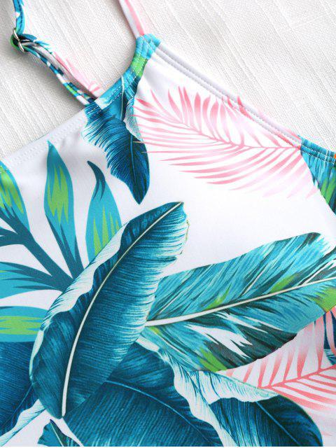 Traje de baño de corte alto de hojas tropicales - Blanco S Mobile