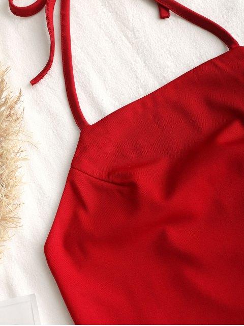 Robe Courte à Dos Nu à Fermeture éclair - Rouge L Mobile