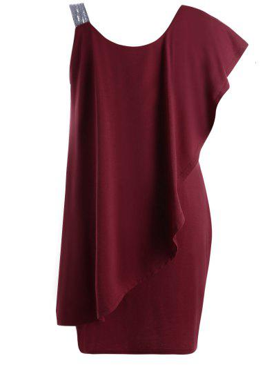 Plus Size One Shoulder Flounce Mini Dress - Wine Red 3xl