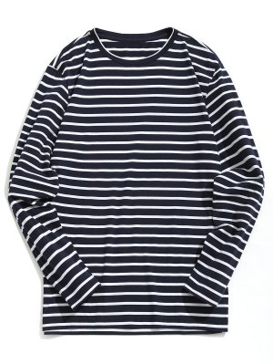 Cotton Blend Striped Tee