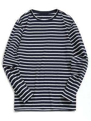 T-shirt Rayé en Coton Mélangé