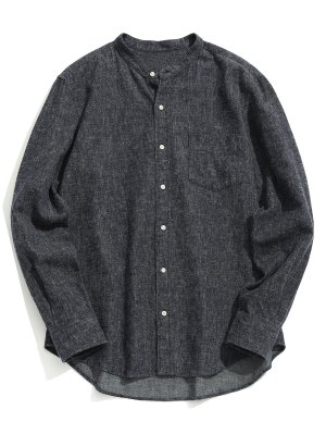 Pocket Mandarin Collar Shirt