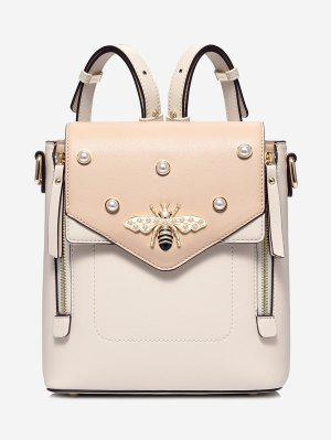 PU Leather Bee Faux Pearl Backpack - Apricot