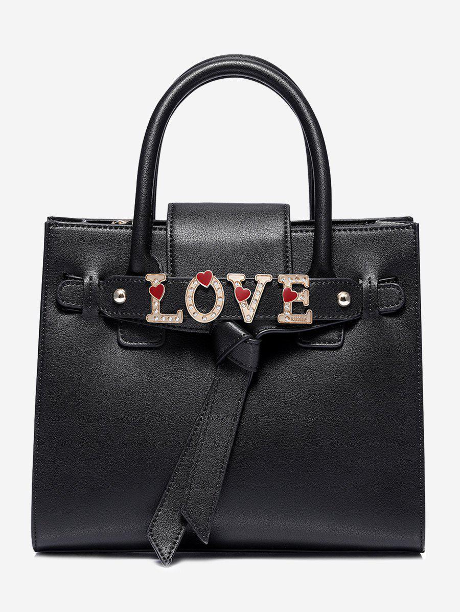 PU Leather Letter Crystal Handbag 252877301