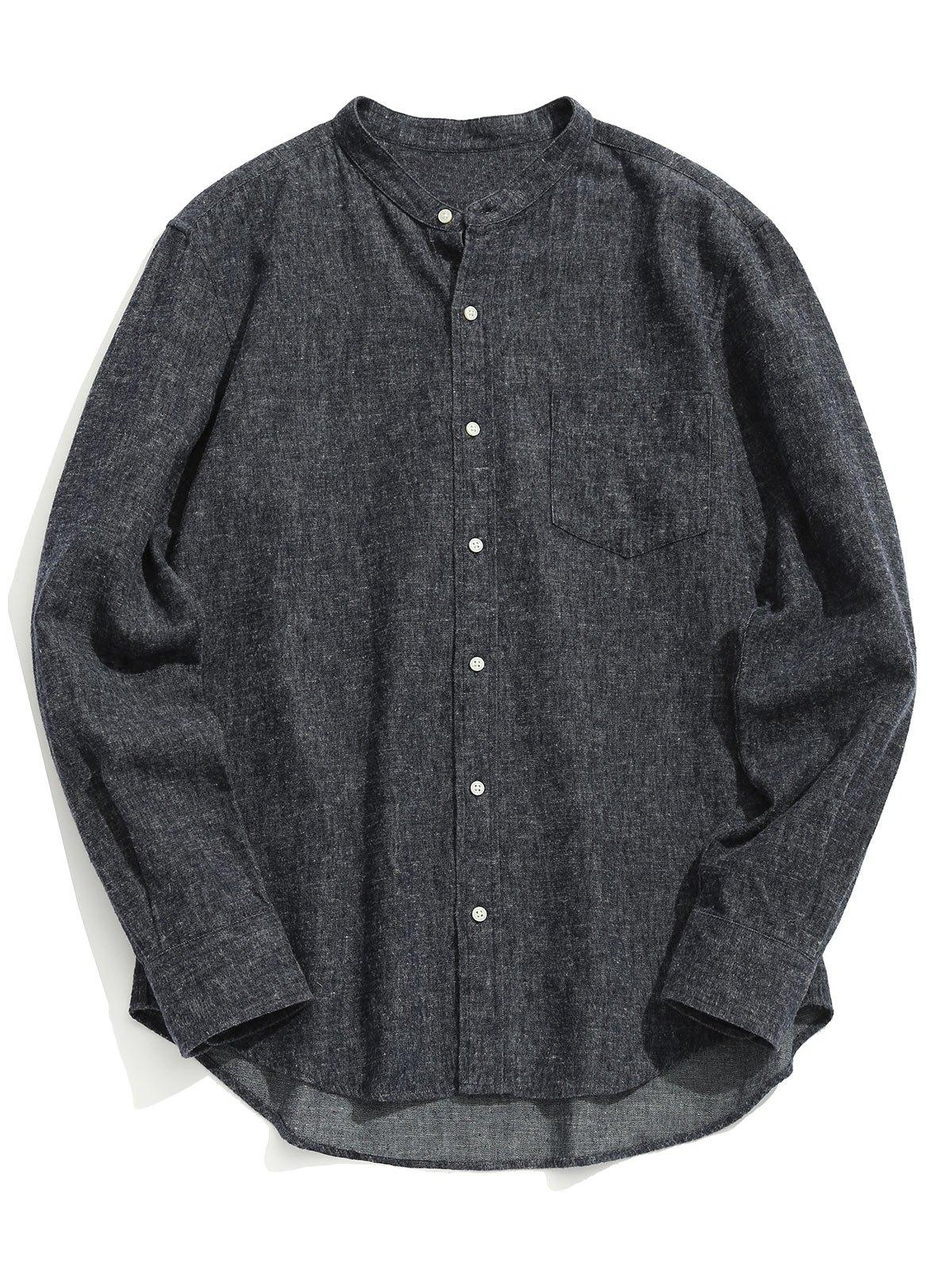 Chemise à Col Mandarin à Poche
