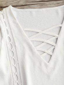 S Calado Parte Con La Falda Delantera En Blanco De Acampanada La Abertura Vestido De OwqYaa