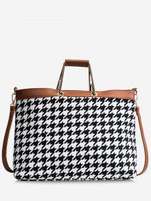 حقيبة توتي من قماش المربعات بألوان جامدة - أسود أبيض