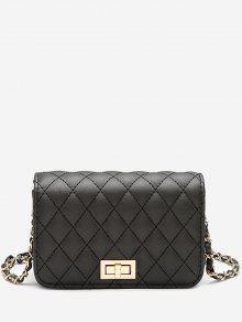 حقيبة كروسبودي مبطنة مع سلسلة - أسود