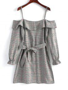 فستان مصغر منقوش كشكش باردة الكتف - رمادي S
