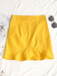 تنورة غير متماثلة هيم الكشكشة مصغرة - الأصفر Xl