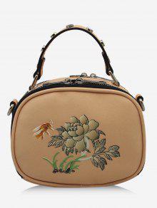 حقيبة كروسبودي بطبعة نحلة وأزهار مزينة بتفاصيل معدنية - اللون البيج