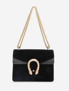 رفرف سلسلة معدنية حقيبة كروسبودي - أسود