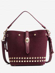 حقيبة يد متعددة الاستعمالات مزينة بقطع معدنية - نبيذ أحمر