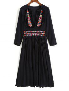 فستان ميدي مطرز بالأزهار محبوك - أسود M