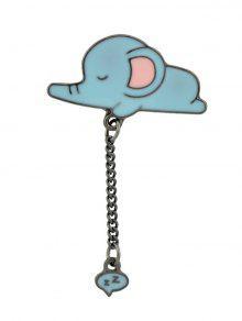 بروش لطيف بسلسلة على شكل فيل صغير نائم - أزرق