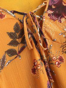 Vestido S Mini Encaje Cordones Con De Floral Mostaza 46qWA1