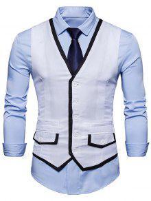 التباين تريم فو جيب صدرية - أبيض S