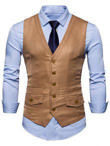 التباين تريم فو جيب صدرية - كاكي S