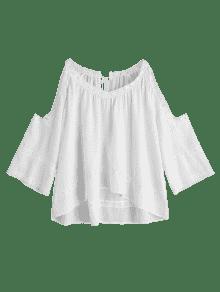 166e8e3174f8a6 2019 Crochet Panel Cold Shoulder Blouse In WHITE L