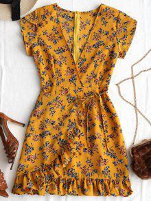فستان طباعة الأزهار كشكش غارق الرقبة - ترابي S