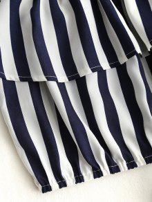 Hombros Rayas Blusa Descubiertos Con Corta A Azul Purp PAa7qzWS