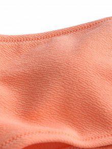 fbb969c22cda4 24% OFF] 2019 Textured Bandeau Thong Bikini Set In ORANGEPINK   ZAFUL