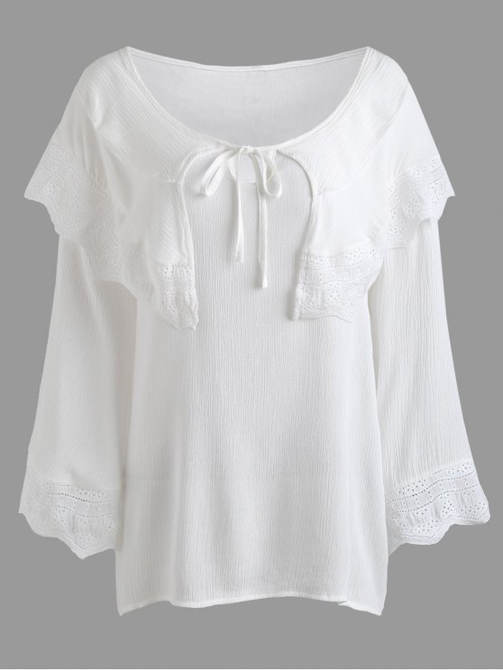women's Crinkly Overlay Lacework Insert Plus Size Blouse - WHITE 3XL