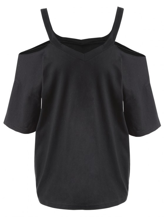 new Plus Size Cold Shoulder T-shirt - BLACK 5XL